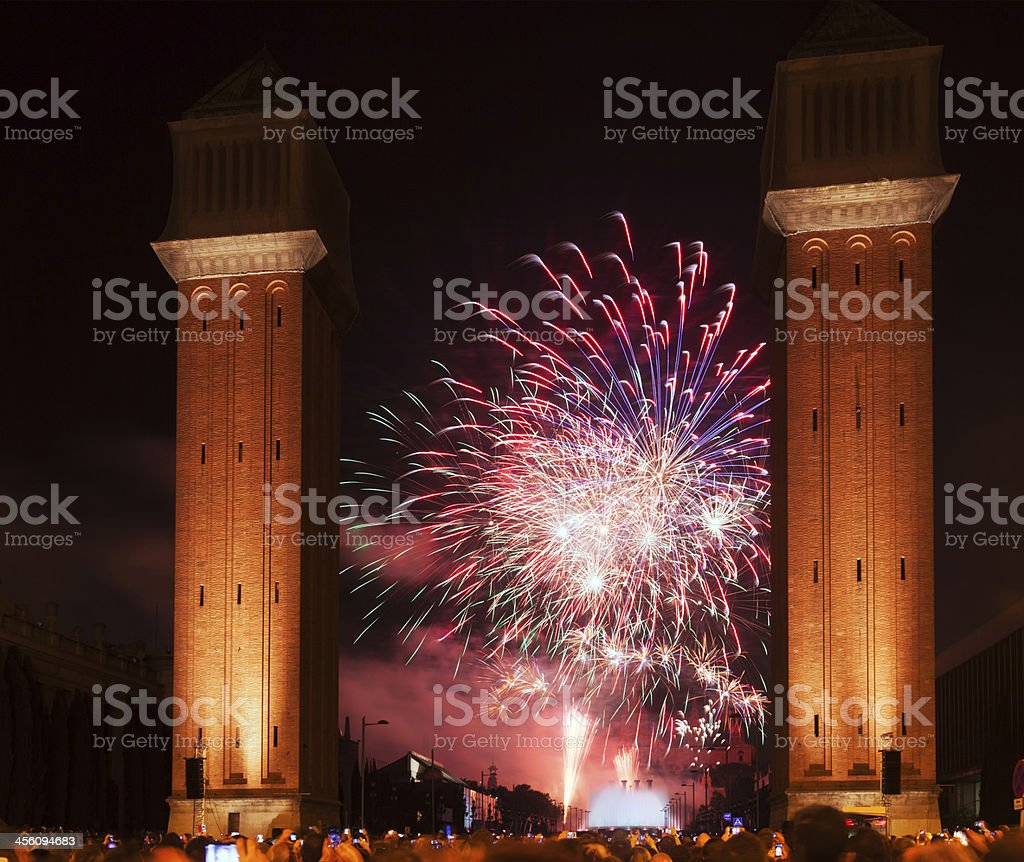firework at Plaza de Espana in night stock photo