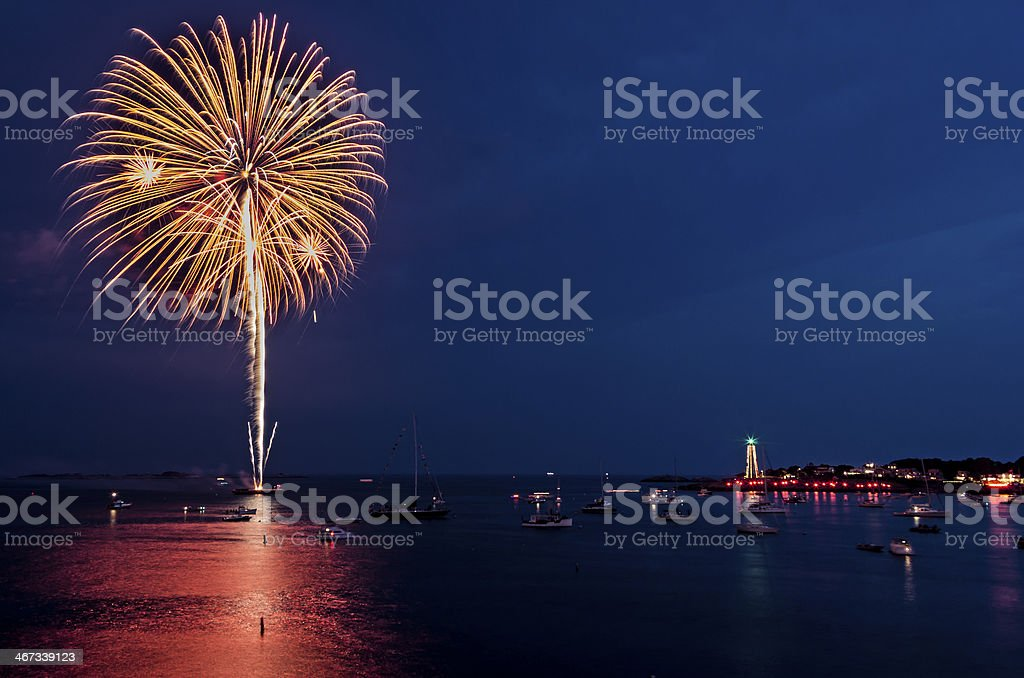 Firework Burst over Marblehead Harbor stock photo
