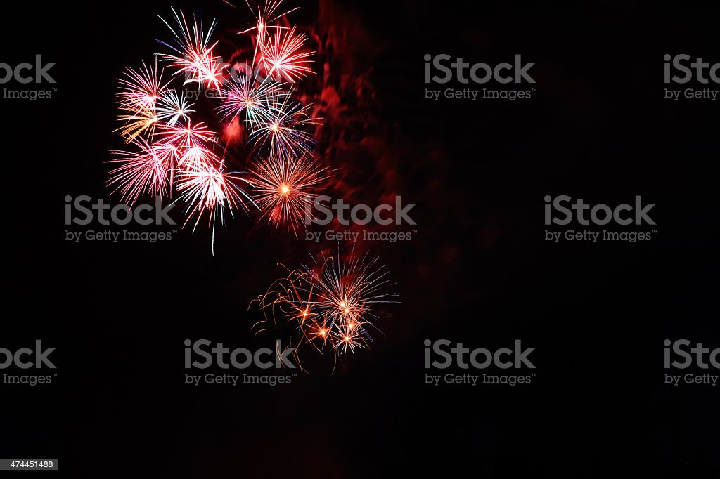 Firework Clusters Colorful stock photo
