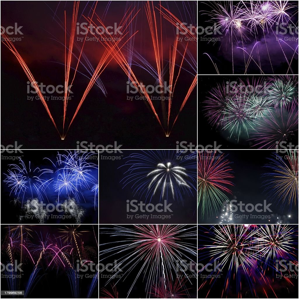 Firework collage royalty-free stock photo