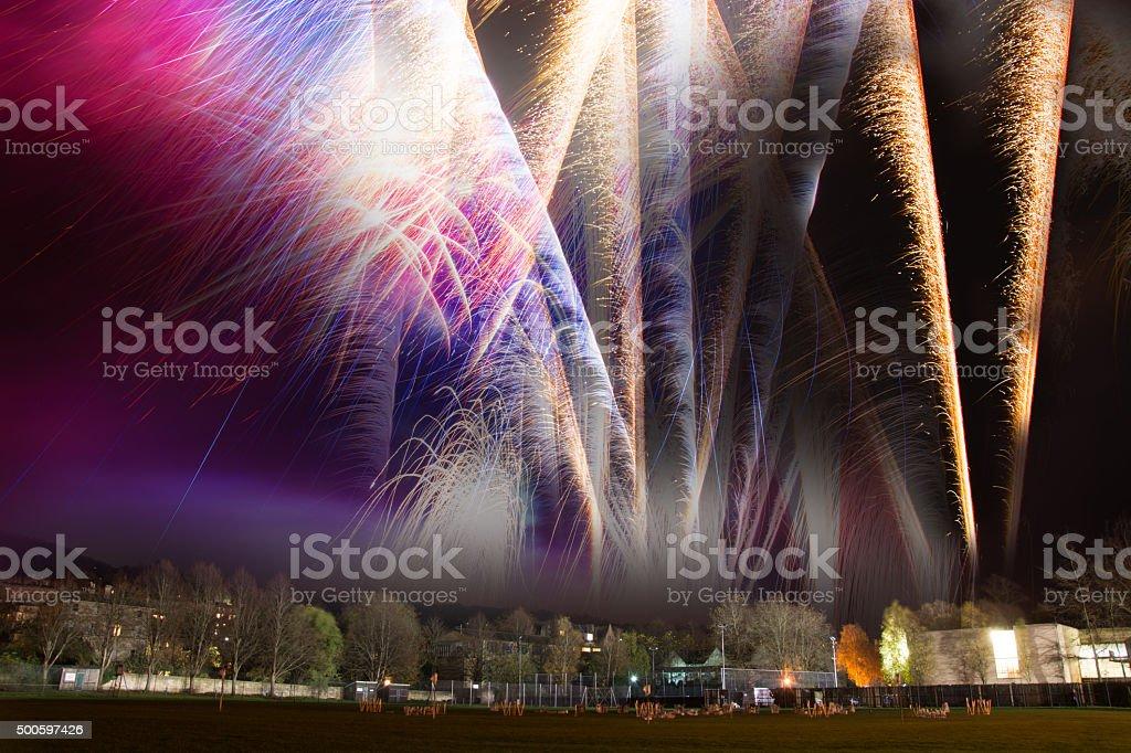 Firework composite taken on bonfire night stock photo