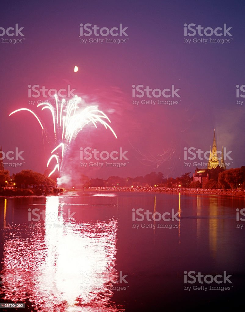 Firework display and Cathedral, Lichfield. stock photo