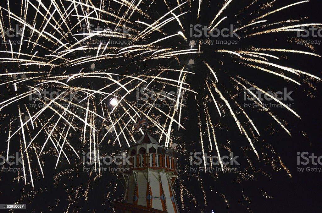Firework display at fairground. stock photo