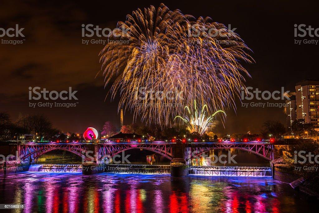 Firework display at Glasgow Green stock photo