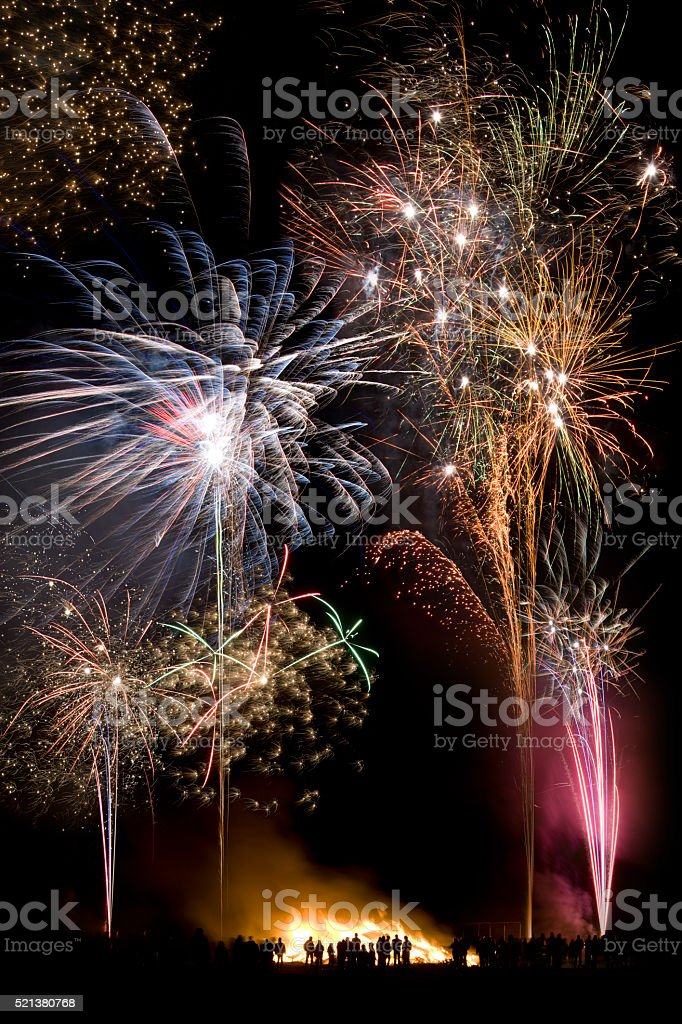Firework Display  - Guy Fawkes Night - England stock photo