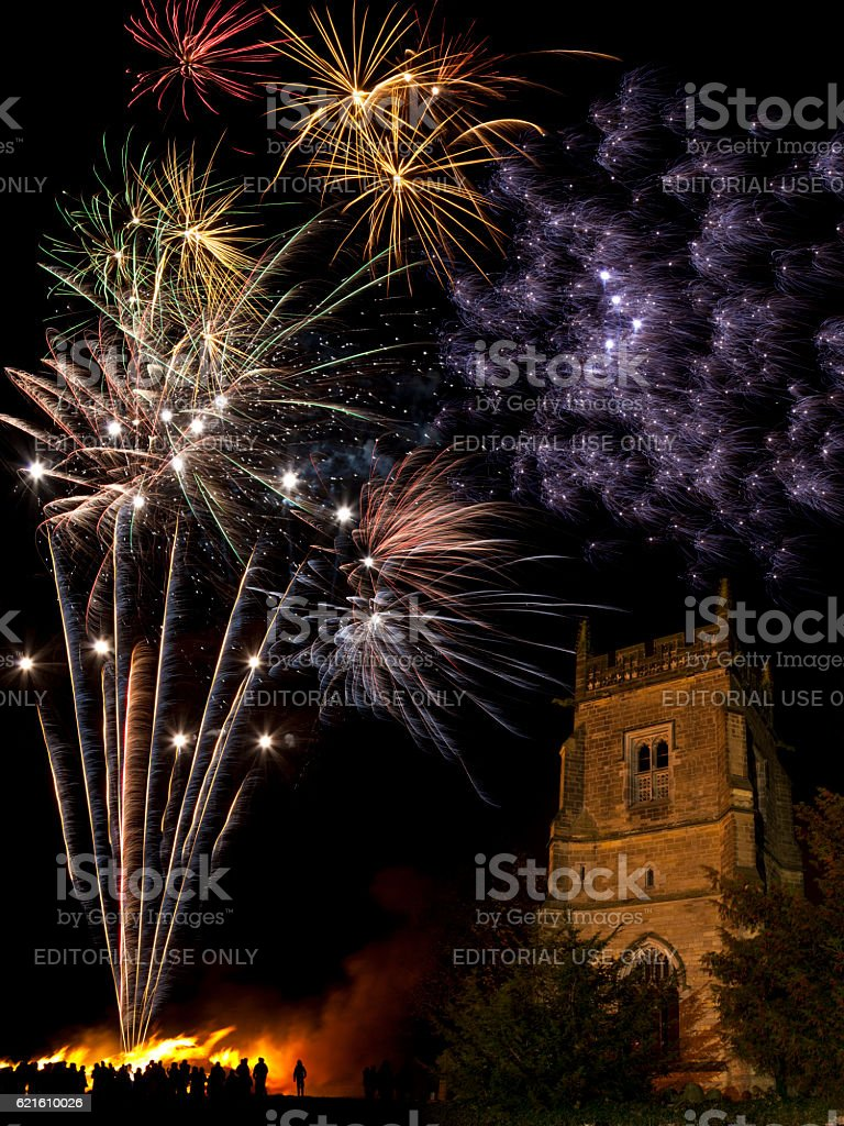 Firework Display on 5th November in England stock photo