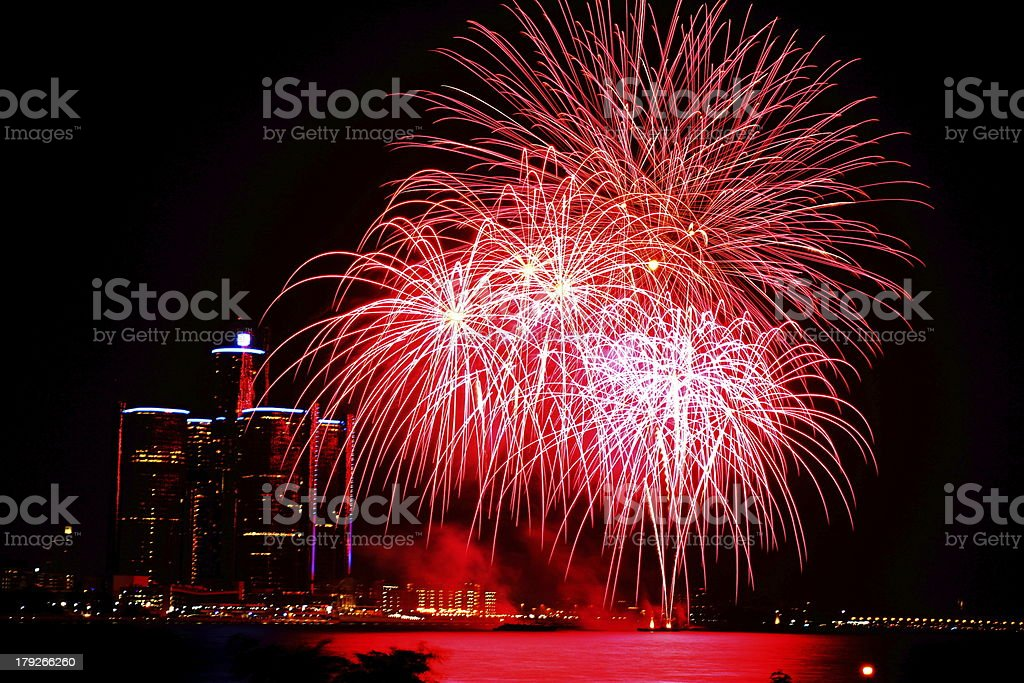 Firework display on Detroit River royalty-free stock photo