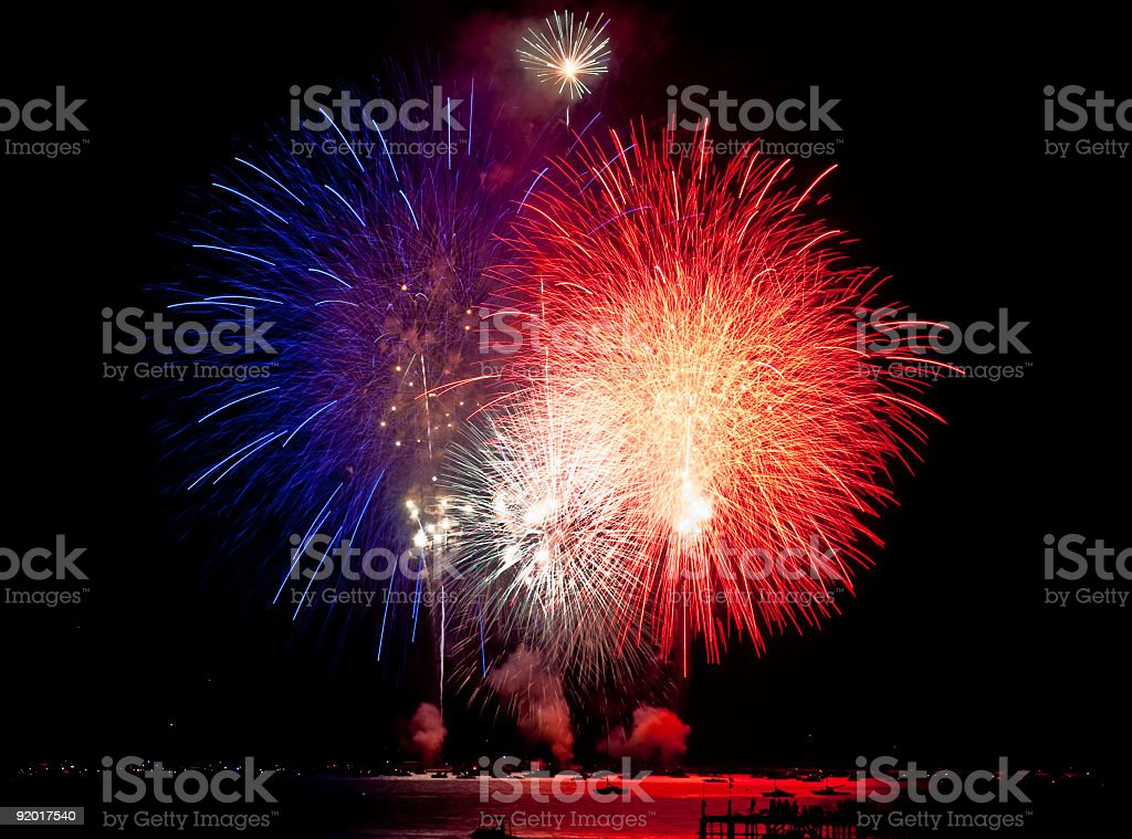 Firework Display Red White and Blue royalty-free stock photo