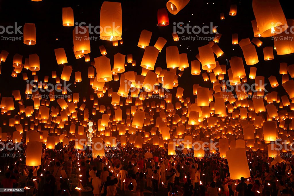 Firework Festival in Thailand stock photo