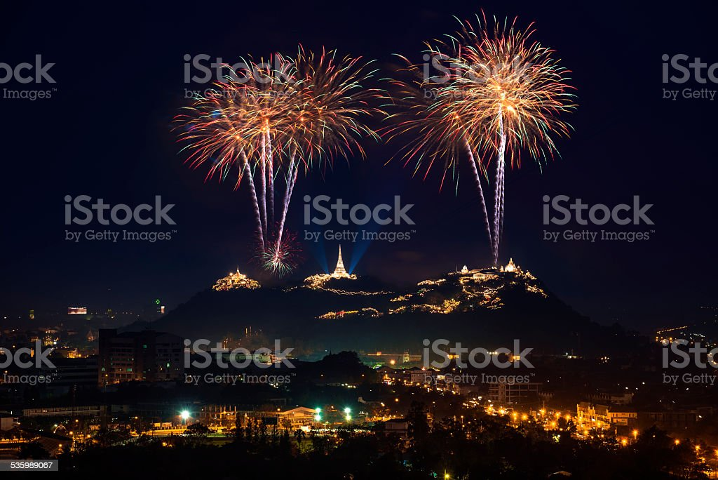 firework festival in thailand stock photo