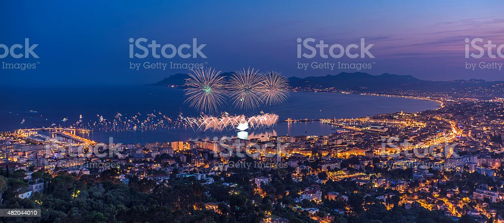 Firework in Cannes stock photo