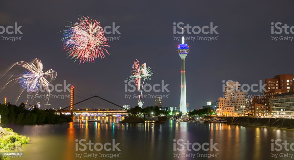 Firework in Dusseldorf media harbor. stock photo