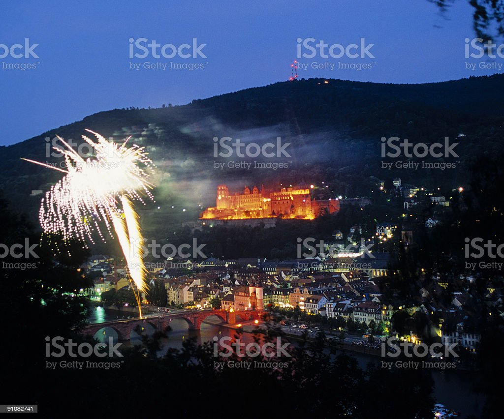 Firework in Heidelberg royalty-free stock photo