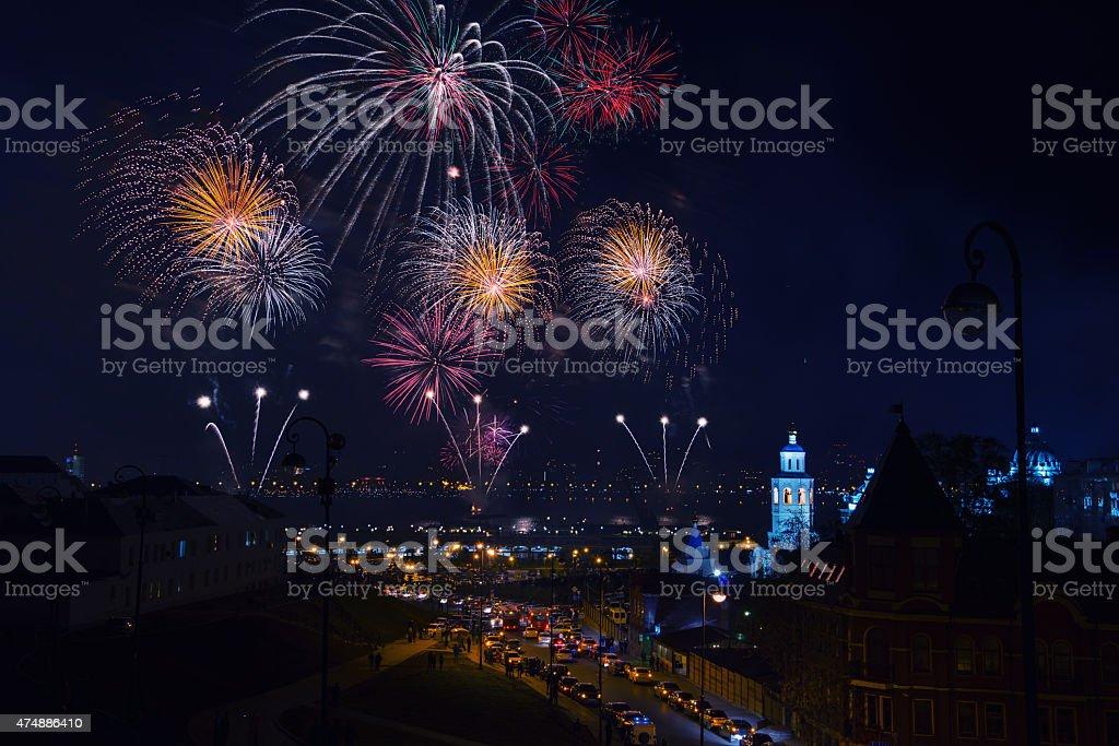 Firework in Kazan, Russia stock photo