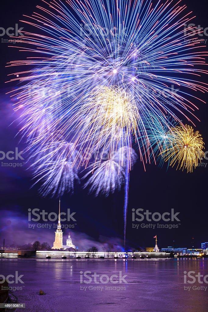 Firework in St.Petersburg stock photo