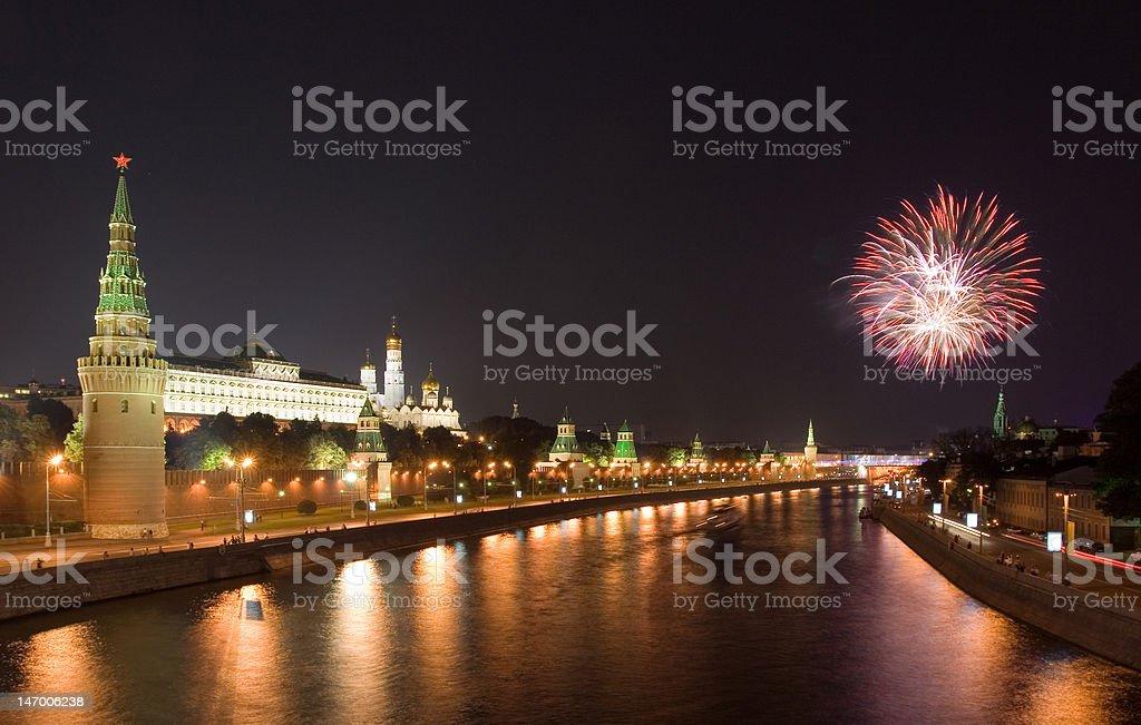 Firework near Kremlin royalty-free stock photo
