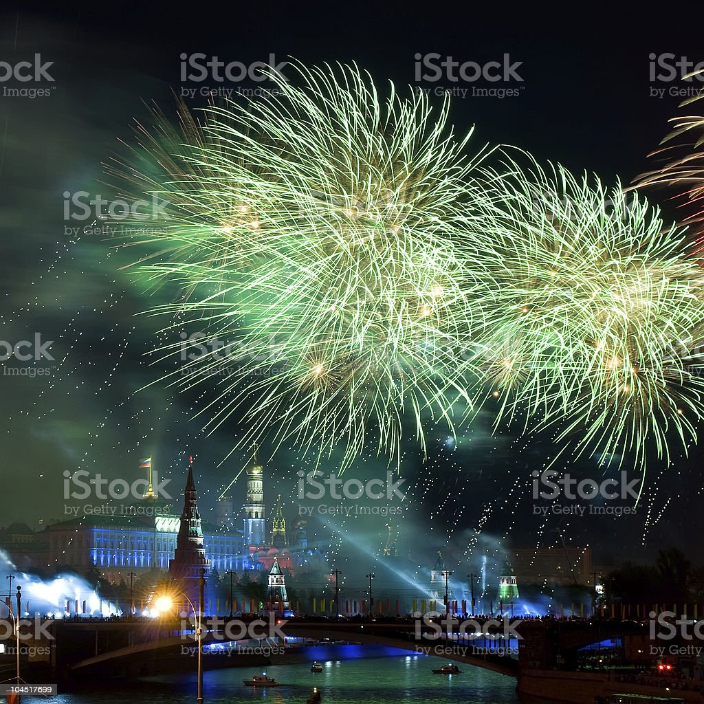 Firework near Moscow Kremlin royalty-free stock photo