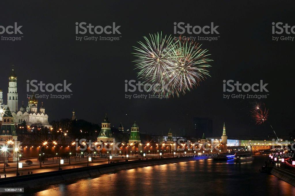 Firework near the Kremlin #4 royalty-free stock photo