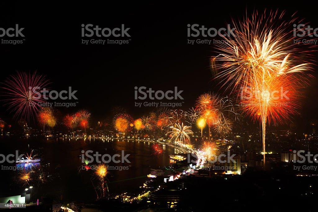 Firework Newyear in Pattaya,Thailand stock photo