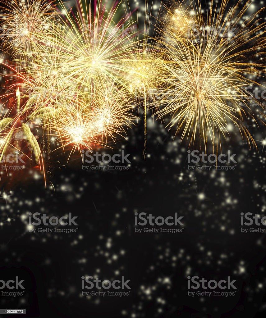 Firework on black background stock photo