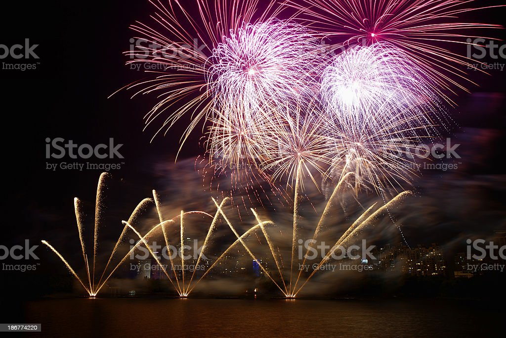 firework over lake royalty-free stock photo