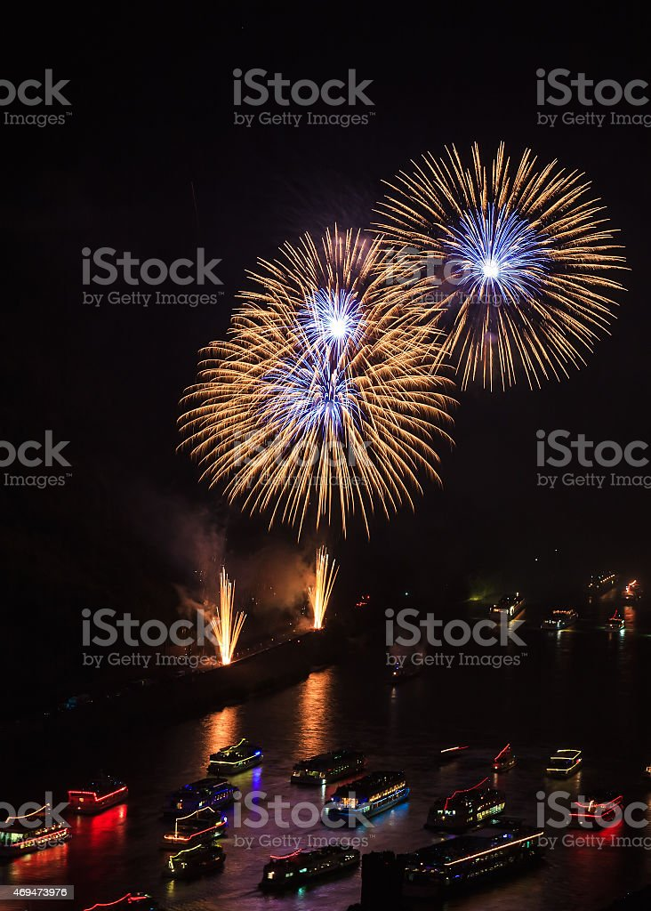 Firework over the rhine valley stock photo