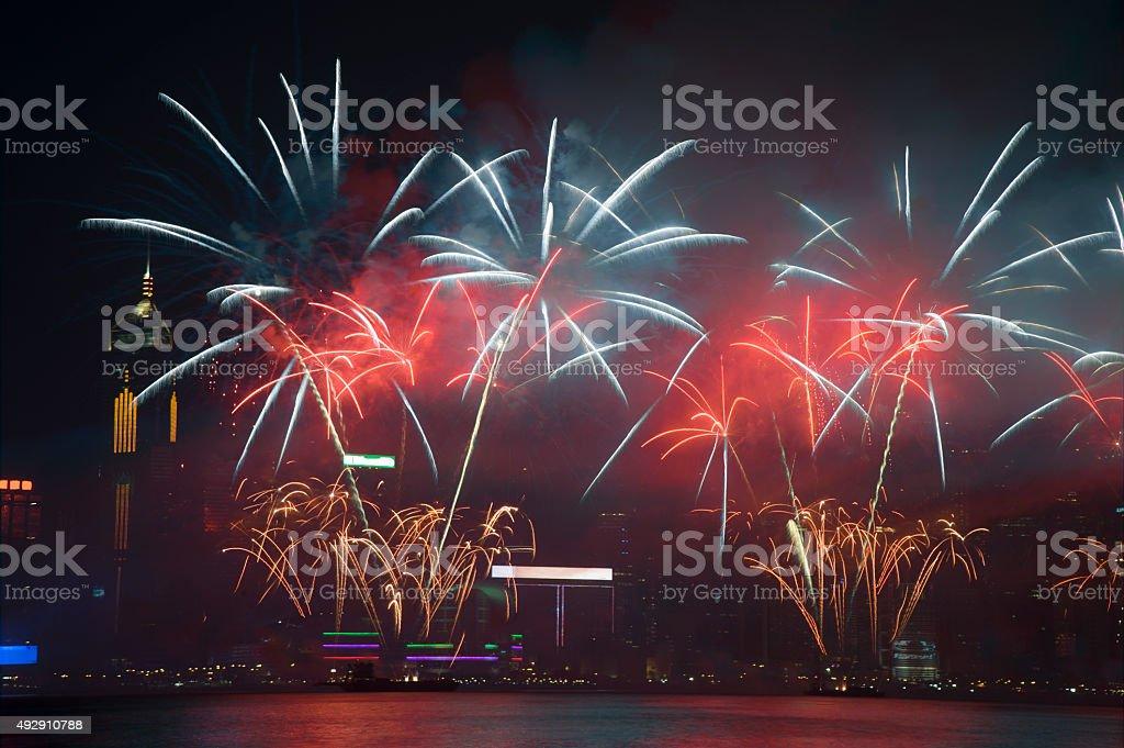 Firework Show in HongKong 2015 stock photo