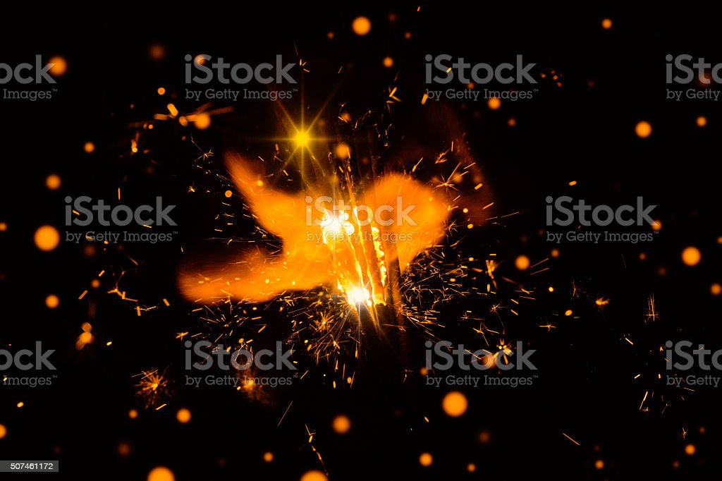 Firework with abstract lights stock photo