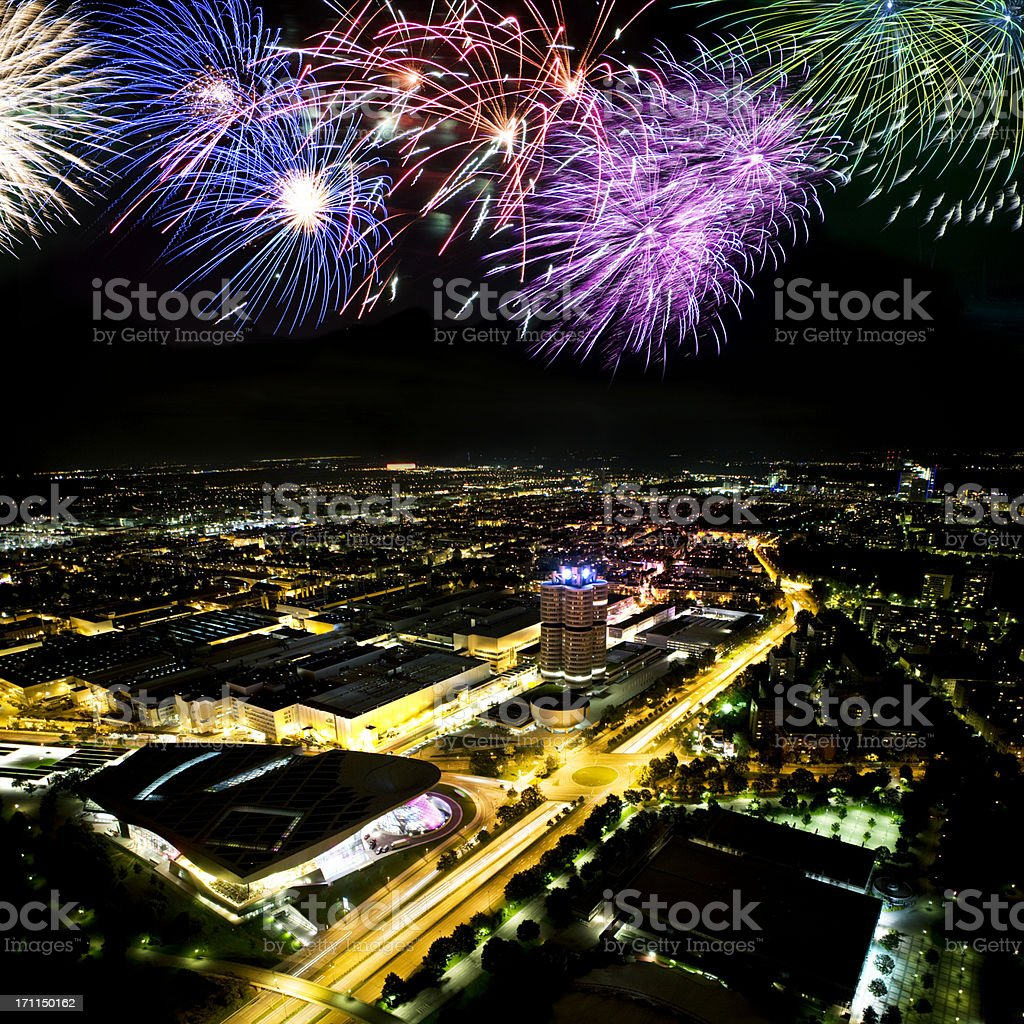 fireworks above cityscape royalty-free stock photo
