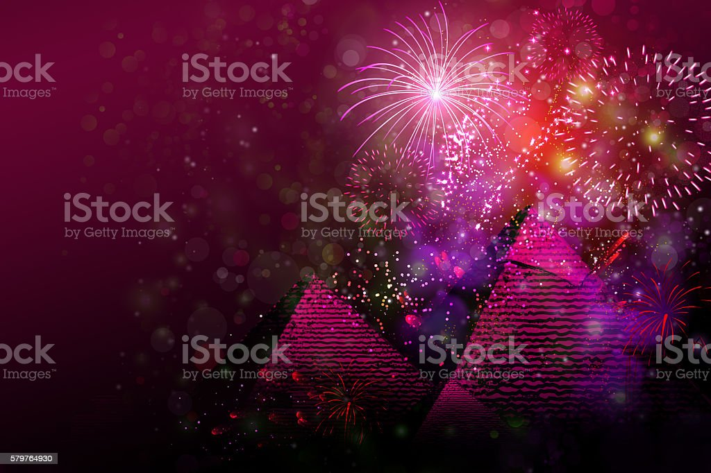 Fireworks above pyramids of Giza in Egypt vector art illustration