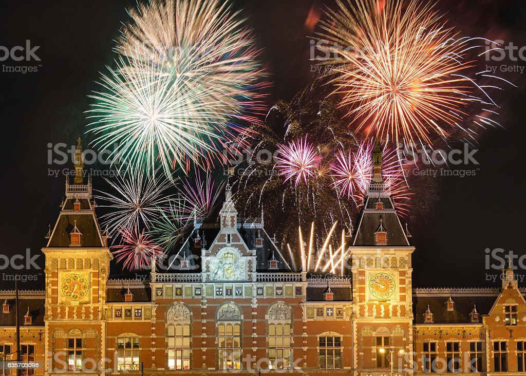 Fireworks above the Amsterdam Centraal stock photo
