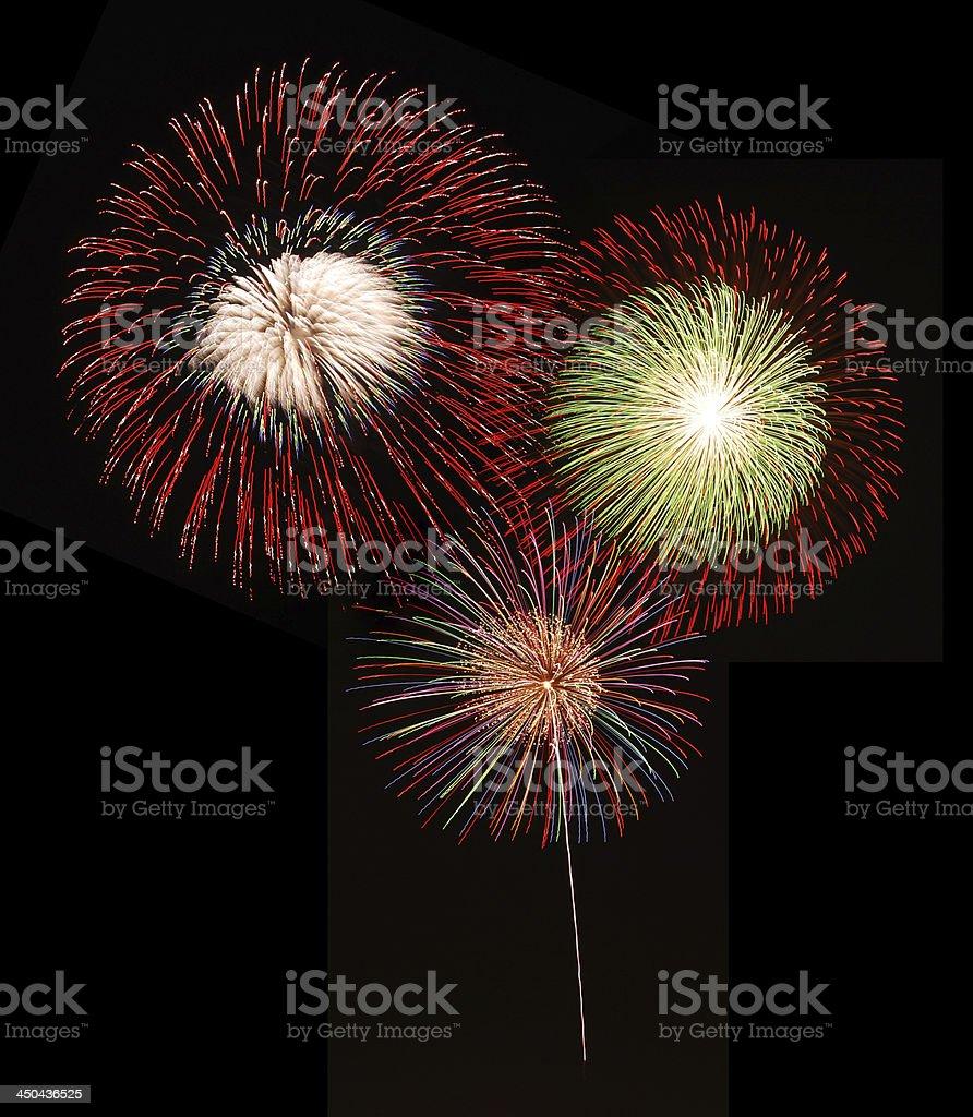fireworks against a black sky stock photo