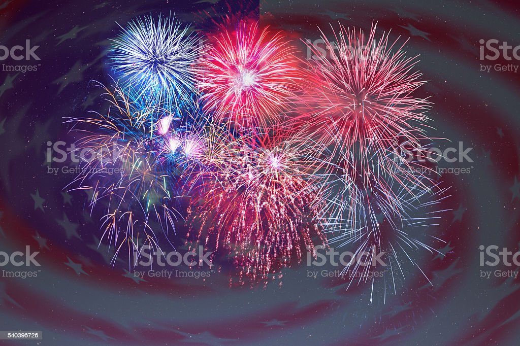 Fireworks and American flag background stock photo