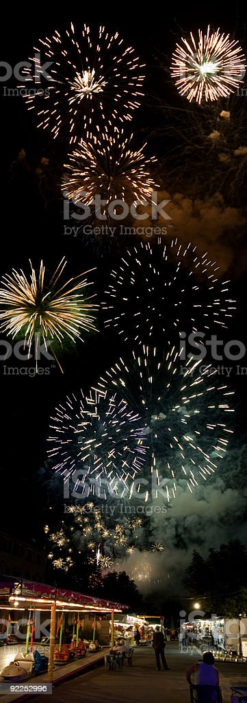 Fireworks and Funfair stock photo