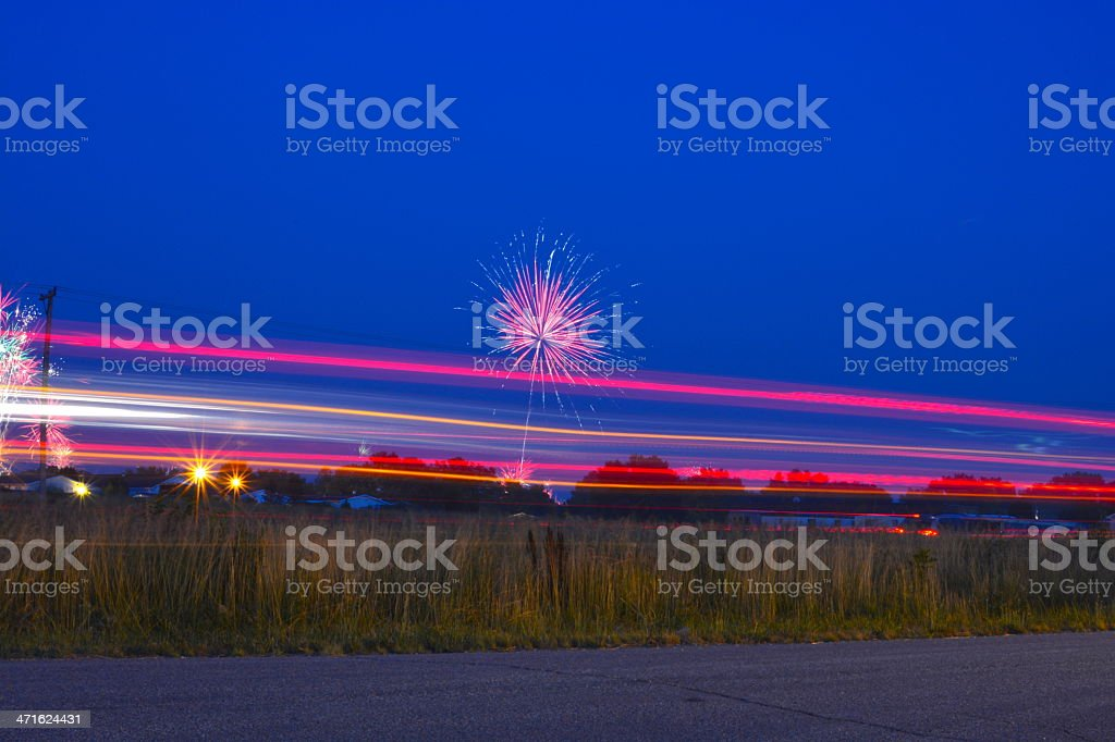 Fireworks and Light Blurrs stock photo