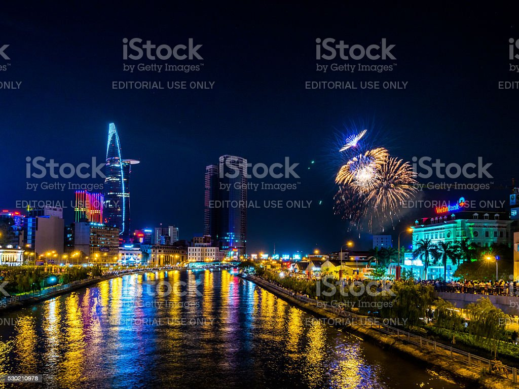 Fireworks and the city skyline in Ho Chi Minh, Vietnam stock photo