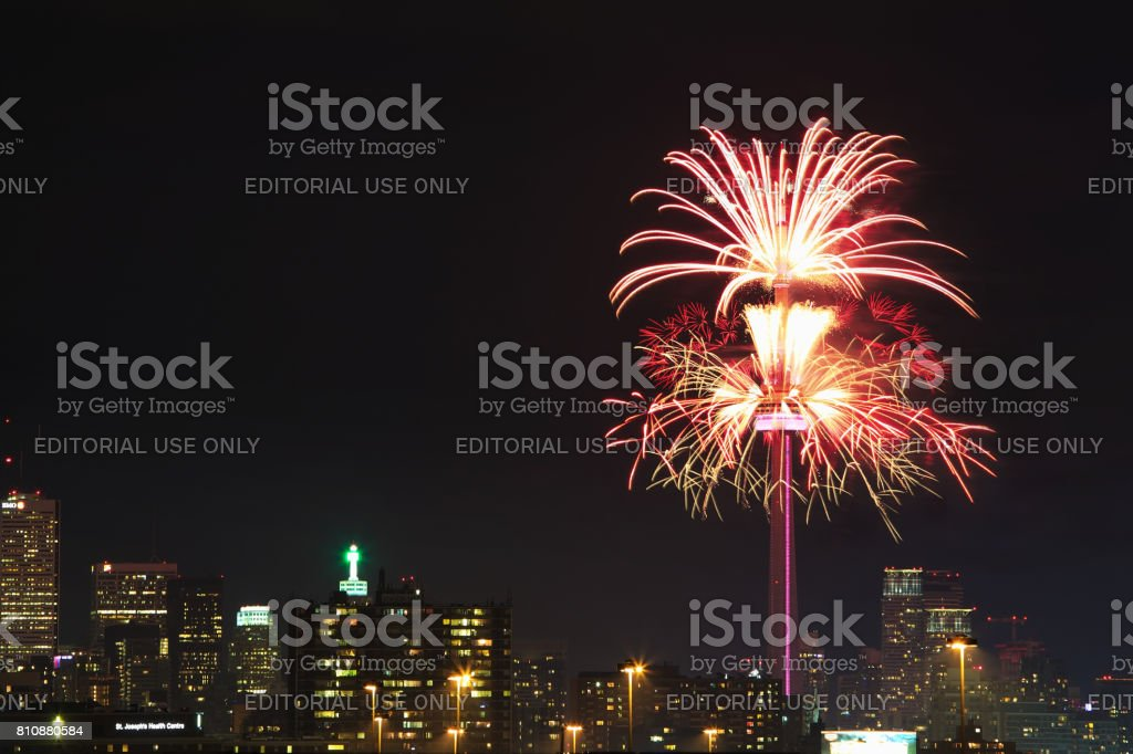 Fireworks at CN tower in Toronto stock photo