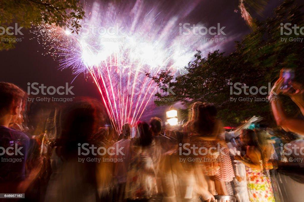 Fireworks at Copacabana beach at new year's day stock photo