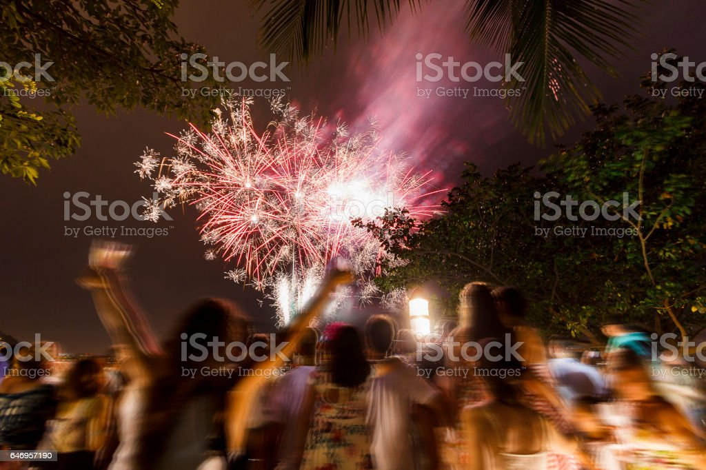 Fireworks at Copacabana beach at new year's day stock photo