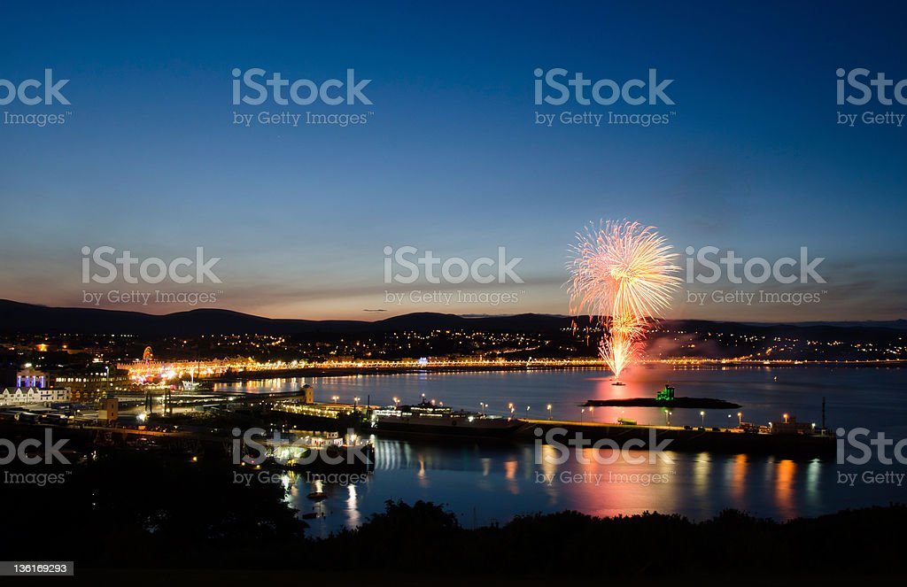 Fireworks at Douglas Bay Isle of Man stock photo
