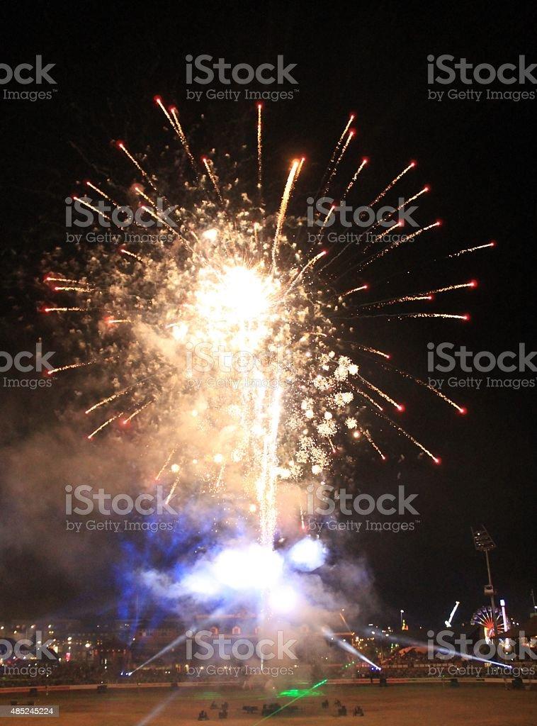 Fireworks at Ekka show stock photo