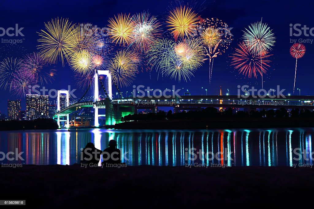 Fireworks at Night countdown to New year 2017 stock photo