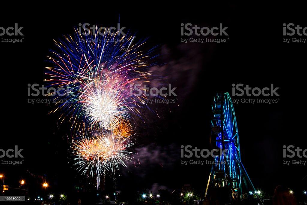 Fireworks at Norfolk Harborfest 2014 stock photo