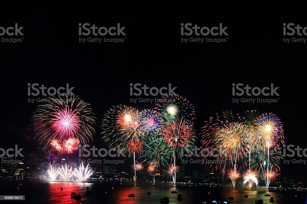 fireworks at the sea stock photo