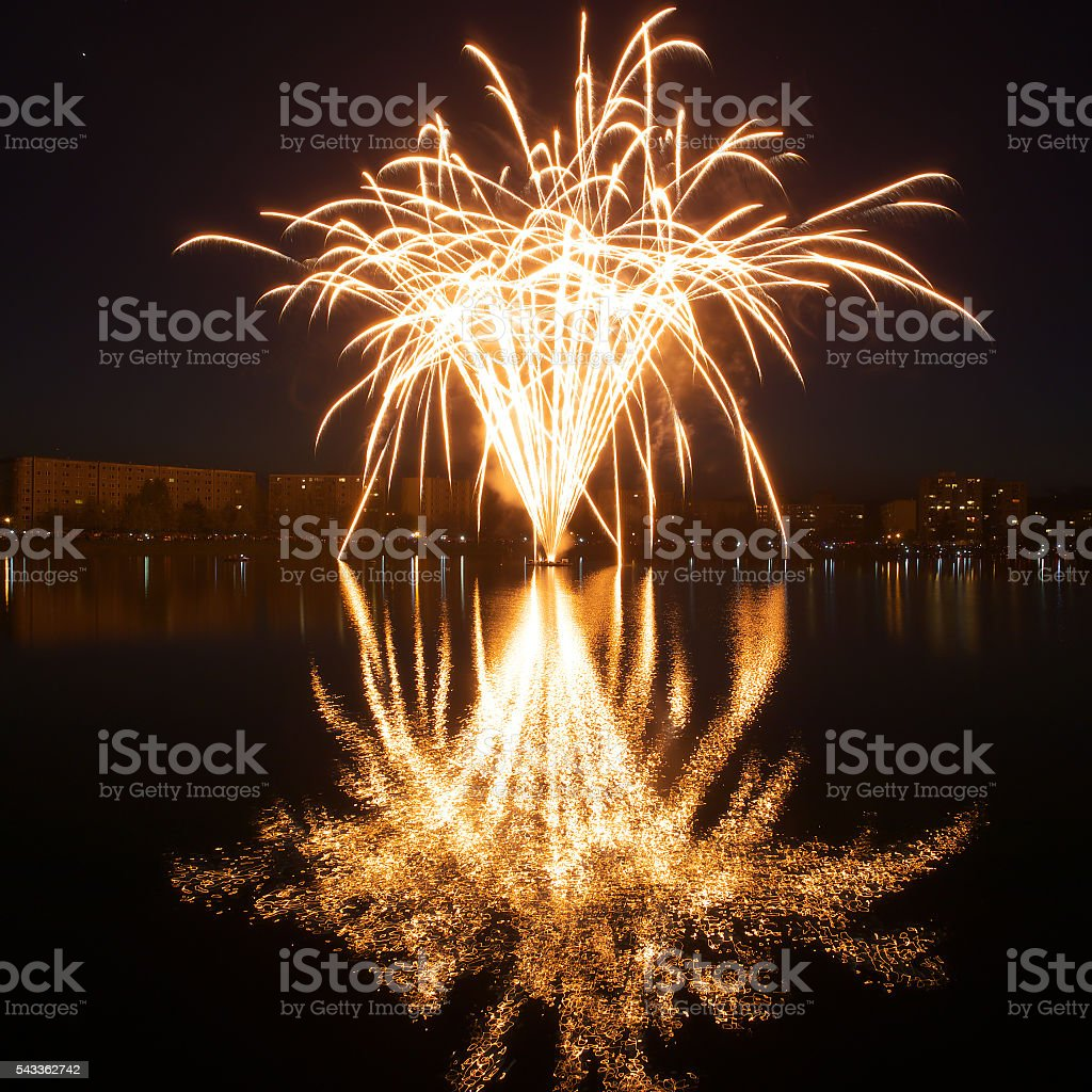 Fireworks at Walpurgis Night stock photo