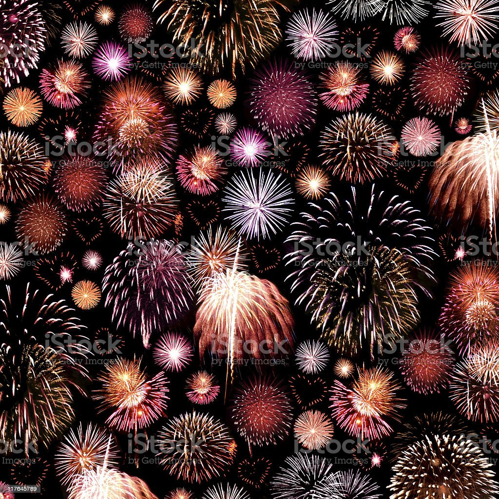Fireworks Background with Hearts royalty-free stock photo