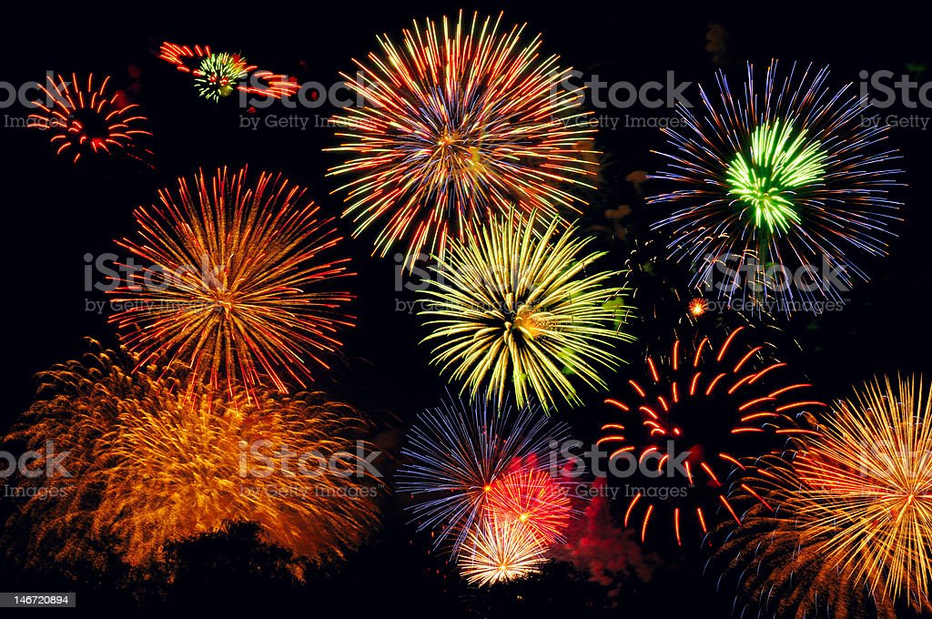 Fireworks bonanza stock photo