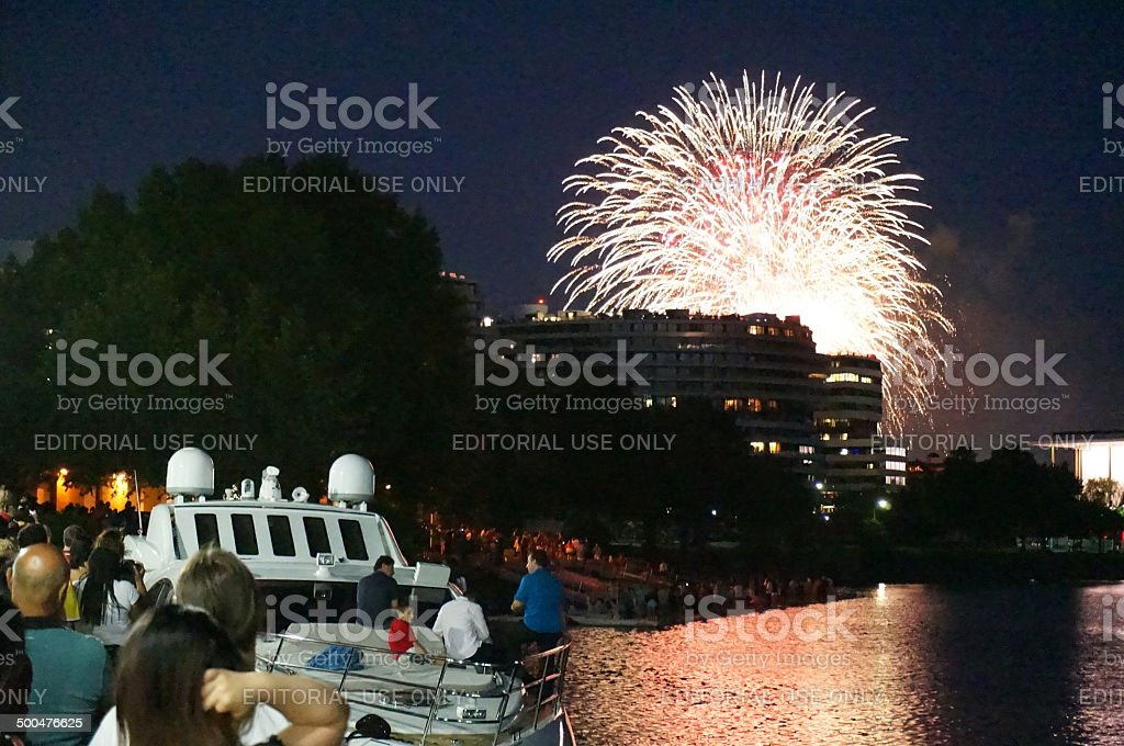 Fireworks Burst Over the Watergate stock photo