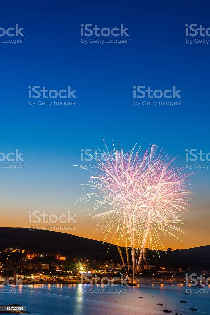 Fireworks bursting into blue dusk sky above ocean harbor town stock photo
