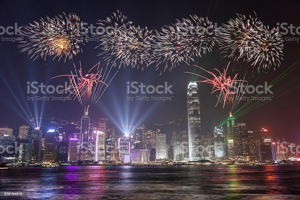 Fireworks Celebration at Hong Kong city stock photo